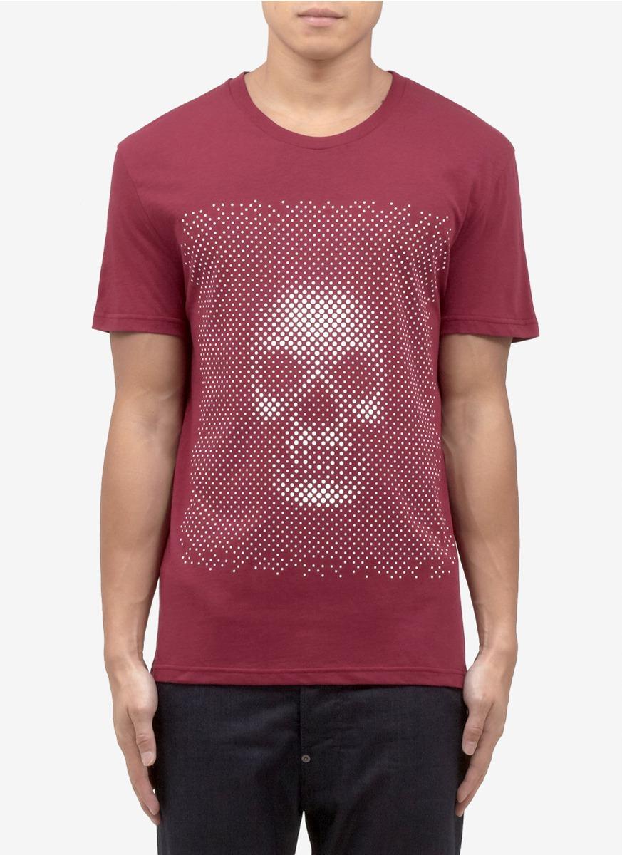 Alexander mcqueen polka dot skullprint t shirt in red for for Alexander mcqueen shirt men