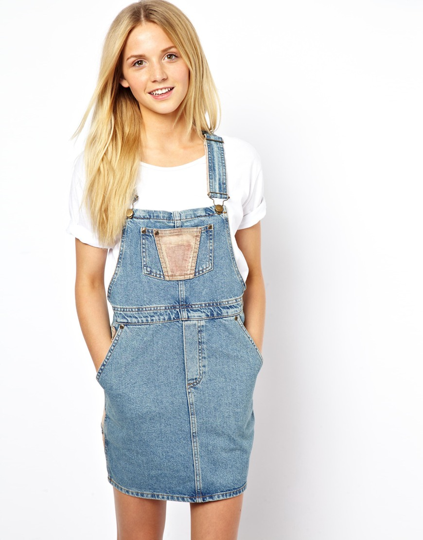 Lyst Asos Cord Patch Denim Dungaree Dress In Blue