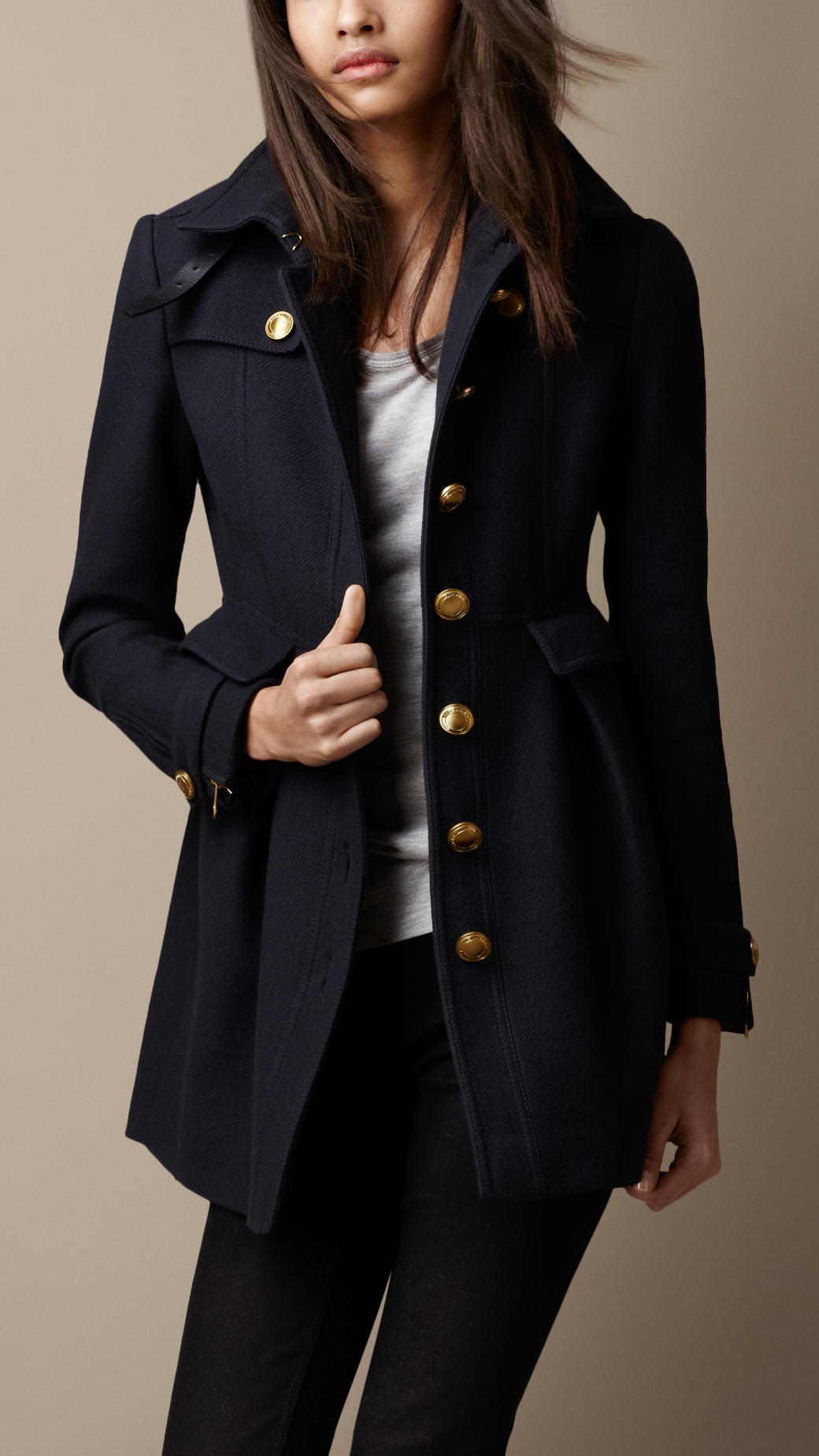 Burberry Fitted Military Coat in Blue | Lyst