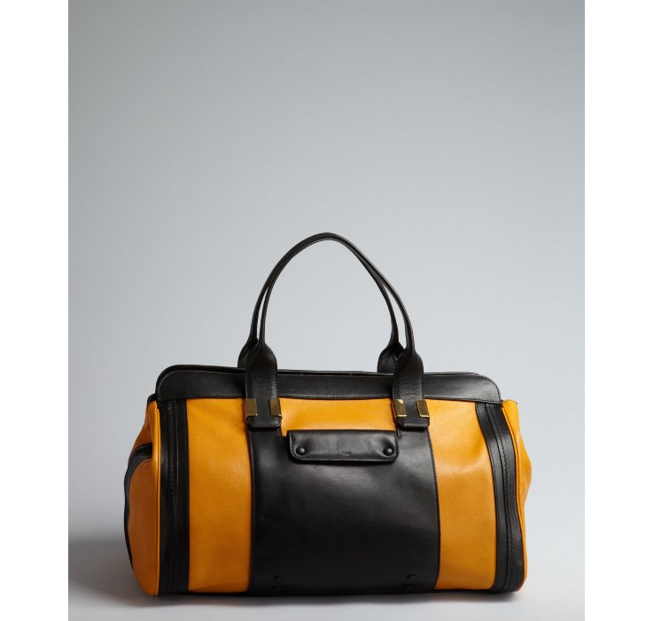 chloe bag - Chlo�� Pumpkin and Black Leather Alice Colorblock Satchel in Black ...