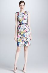 Erdem Floral Leather Dress Blueecrumulti - Lyst