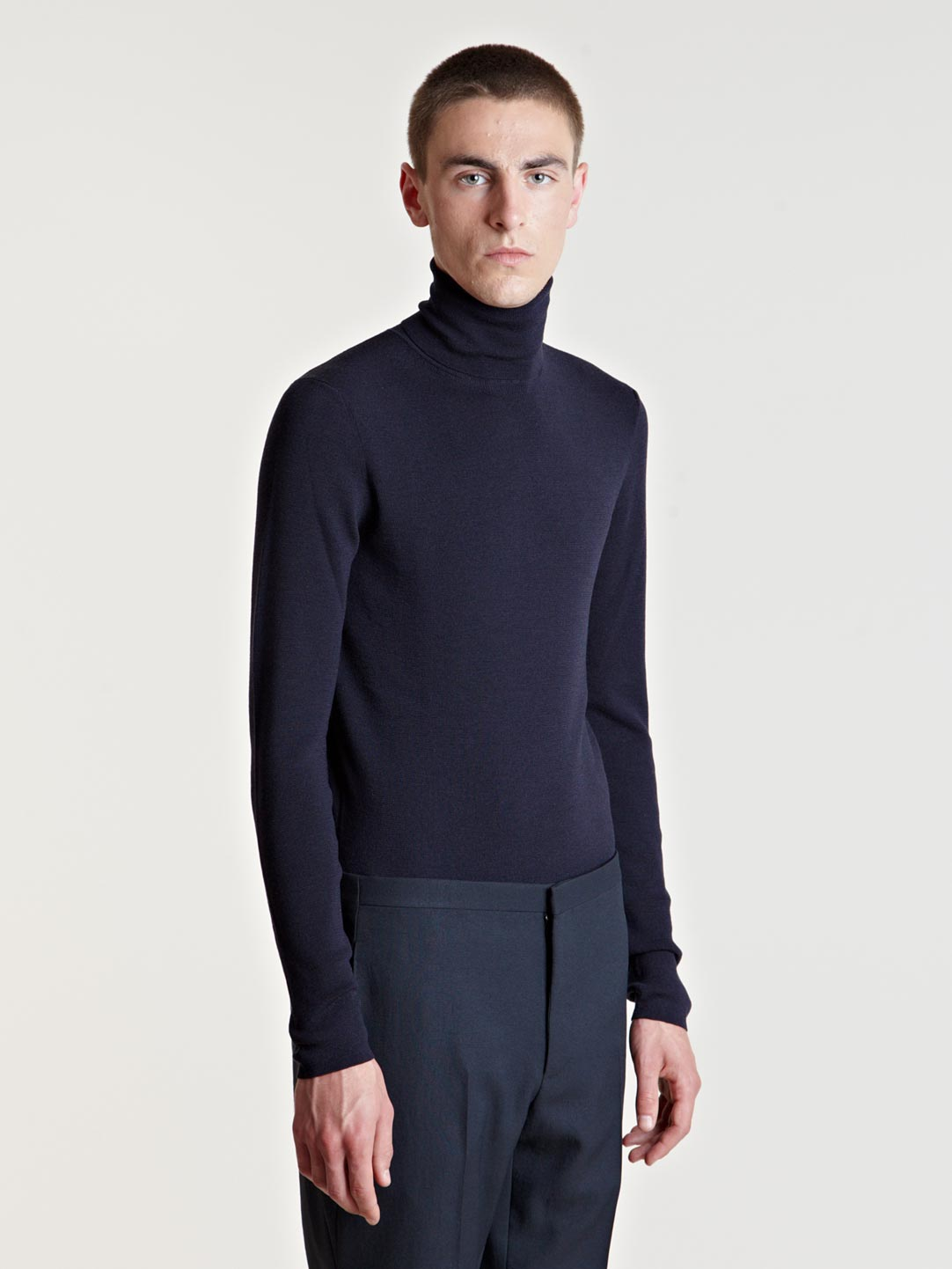 Lanvin Mens Turtle Neck Sweater In Blue For Men Lyst