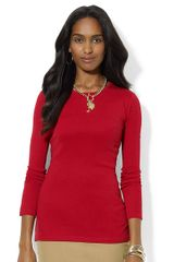 Lauren by Ralph Lauren Petite Long Sleeved Cotton Crew Neck - Lyst