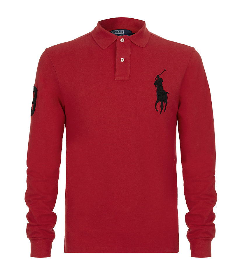Polo ralph lauren Slim Fit Long Sleeve Big Pony Polo Shirt in Red for Men (denim) | Lyst