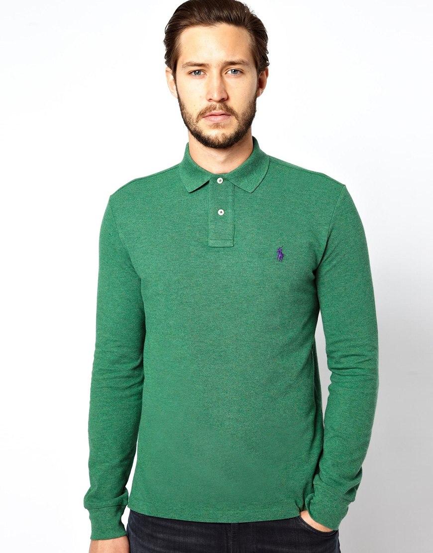 Polo ralph lauren long sleeve polo shirt in slim fit in for Long sleeve fitted polo shirts