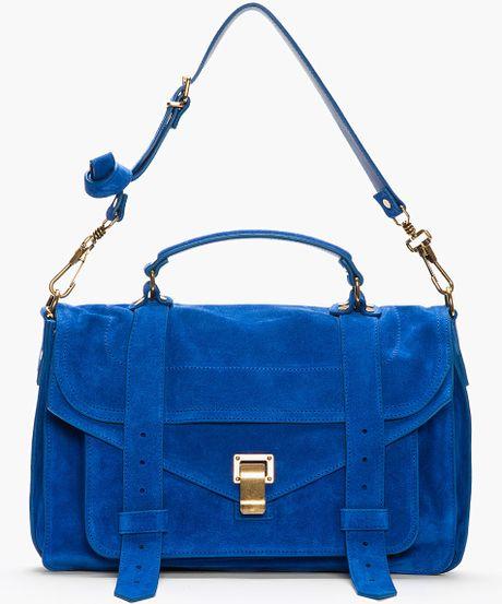 Proenza Schouler Royal Blue Suede Ps1 Medium Messenger Bag in Blue