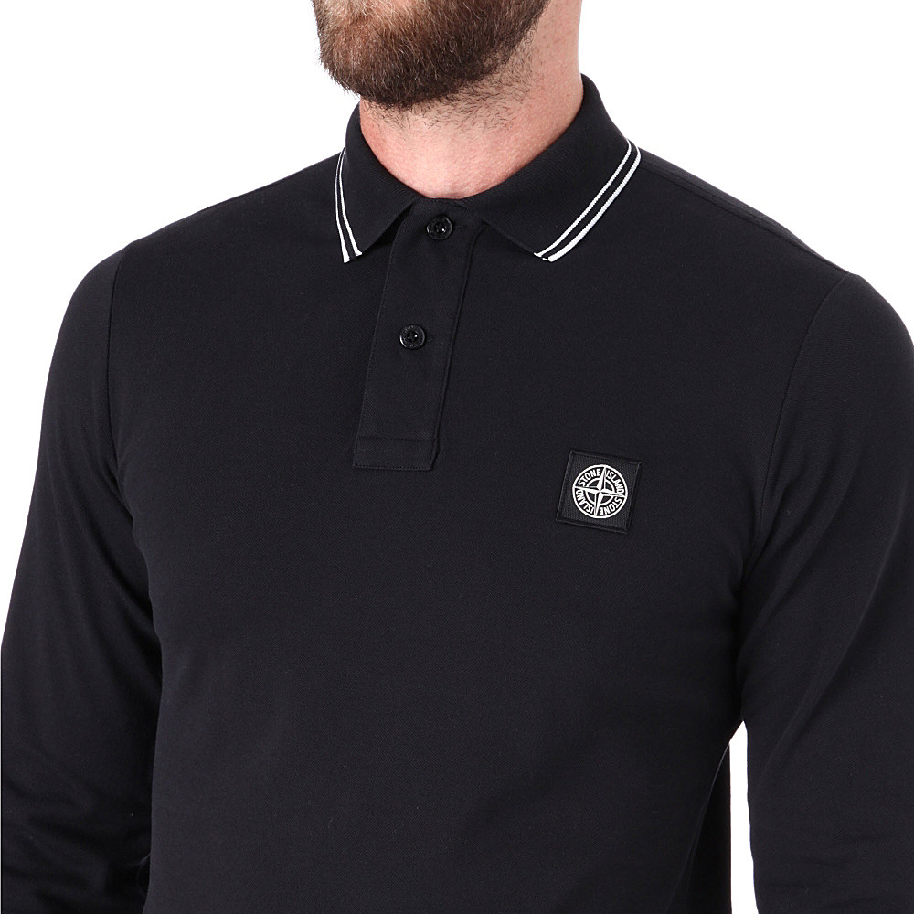 4341d62c Stone Island Longsleeve Pique Polo Shirt in Black for Men - Lyst