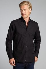 Stone Rose Black Cotton Point Collar Button Down Long Sleeve Shirt - Lyst