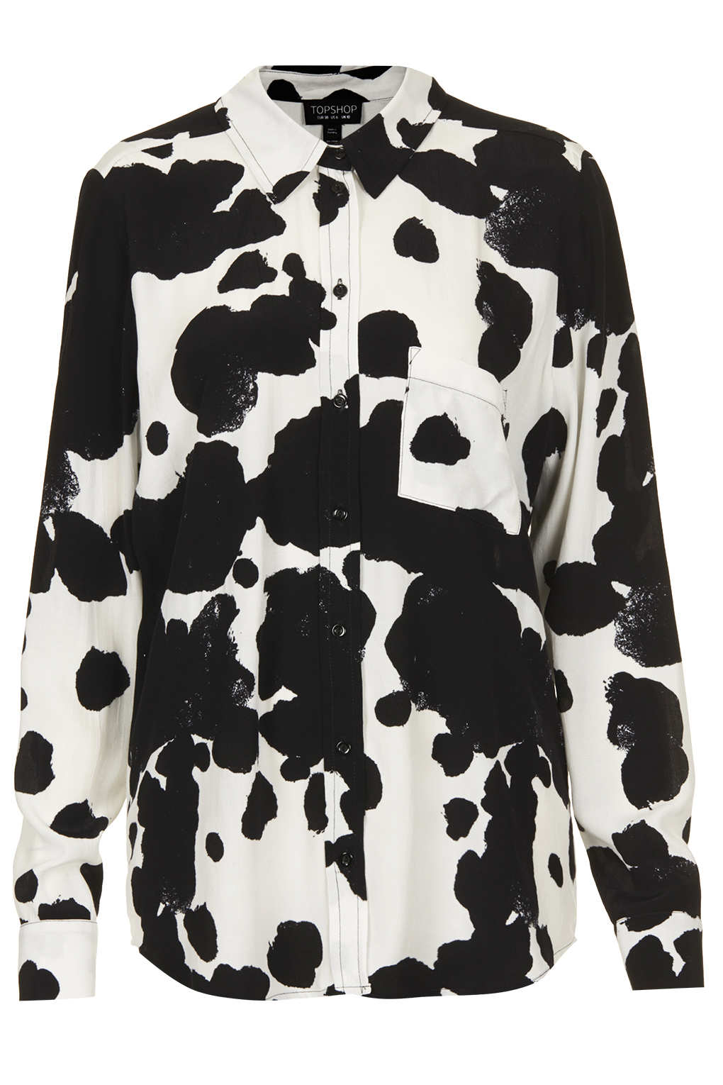 Lyst topshop cow print shirt in white for Print photo on shirt