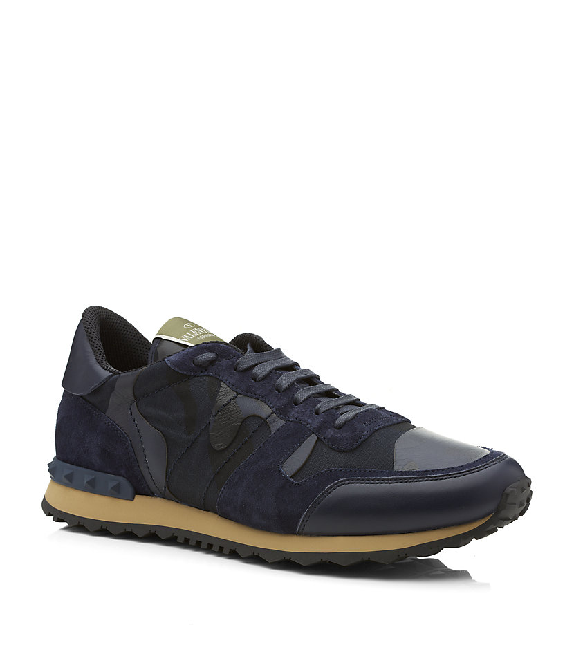 valentino rockrunner camouflage sneaker in blue for men lyst. Black Bedroom Furniture Sets. Home Design Ideas