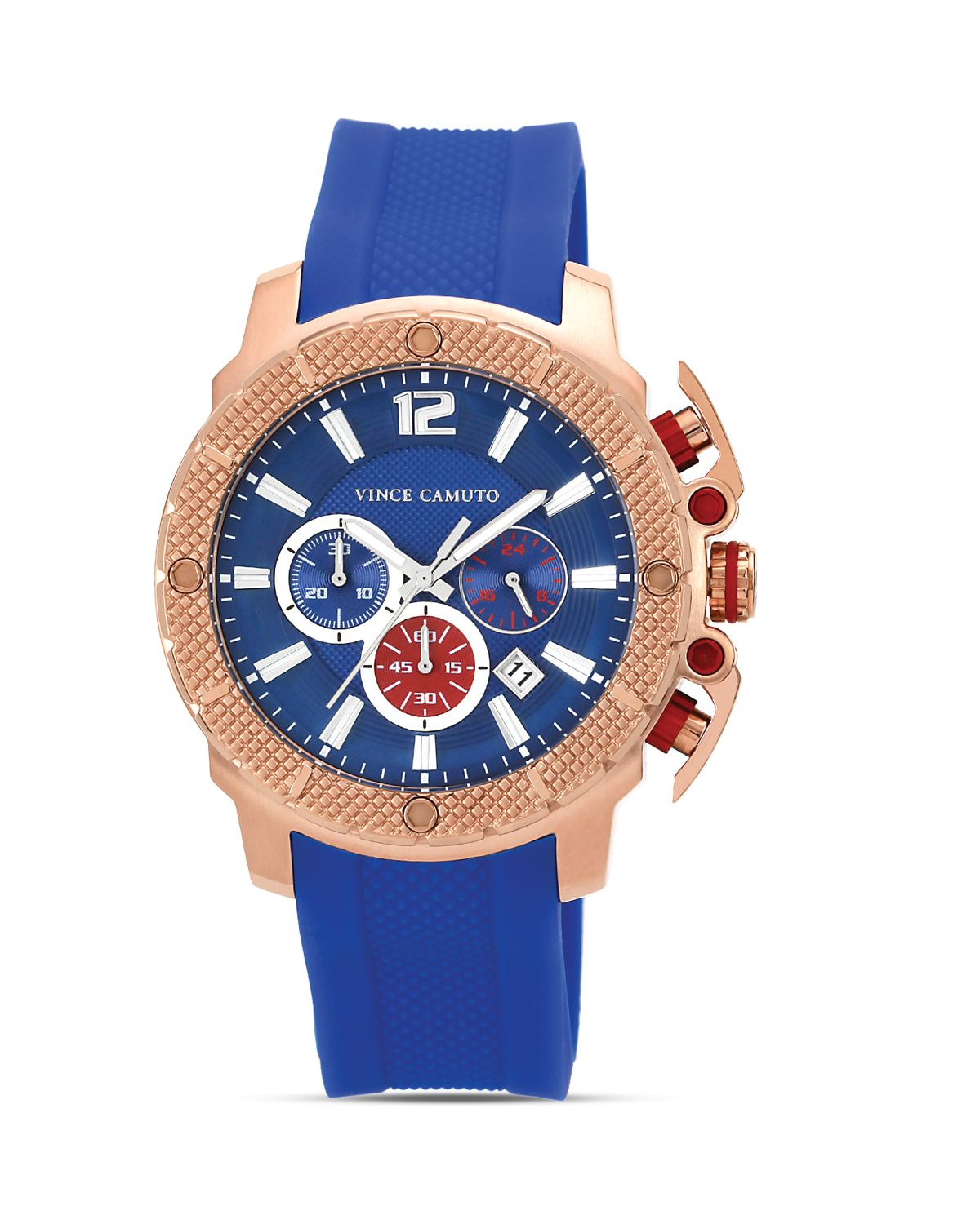 Vince Camuto Mens Blue And Rose Gold Tone Silicone Watch