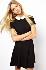 Asos Skater Dress with Contrast Collar - Lyst