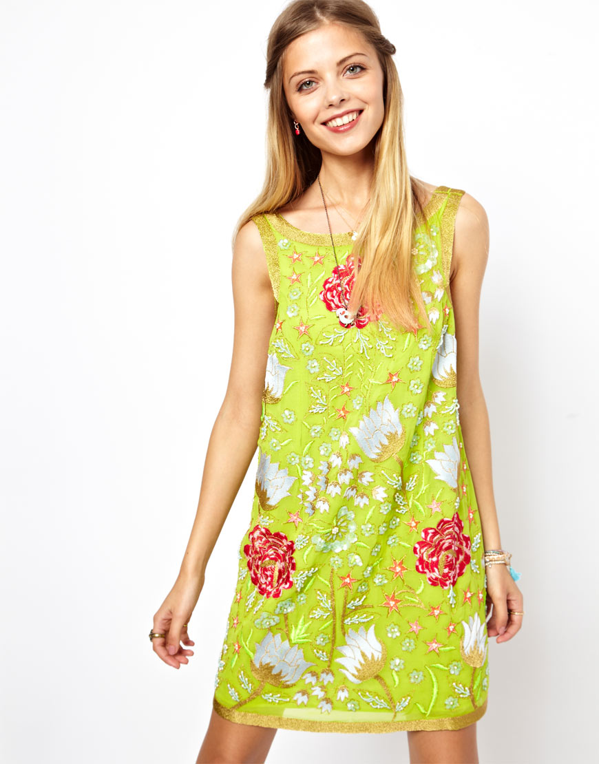 Lyst asos salon retro shift dress with heavy embroidery