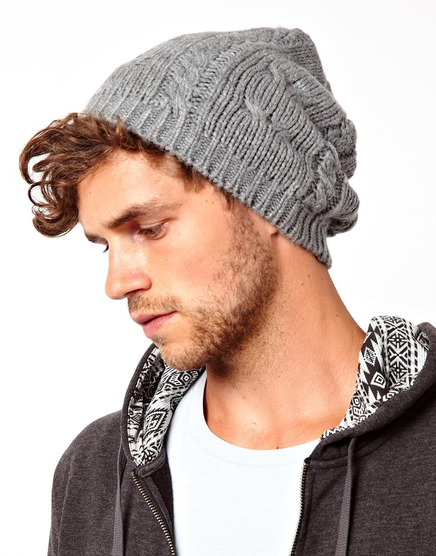 Lyst - Fred Perry Asos Cable Slouchy Beanie Hat in Gray for Men 610c5545c83