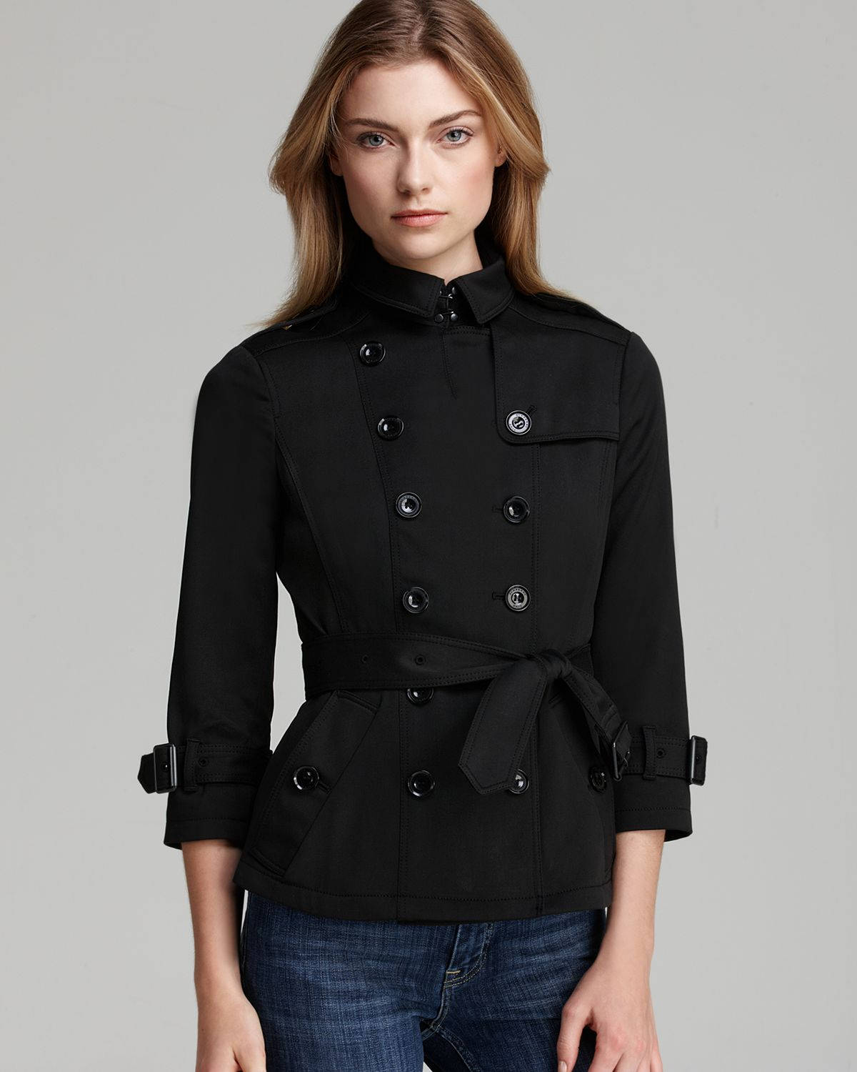 Burberry Brit Shenstone Cropped Trench Coat With Belt In