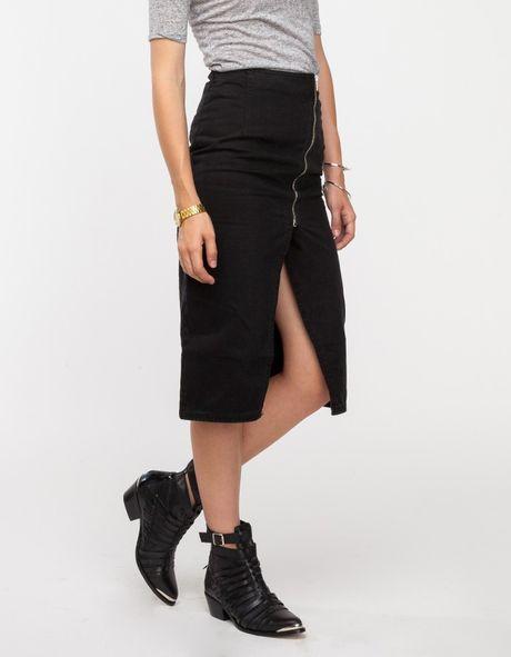 cheap monday skirt in black in black black denim lyst