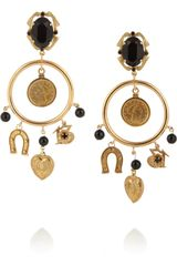 Dolce & Gabbana Sicilia Gold Plated Onyx and Crystal Charm Earrings - Lyst