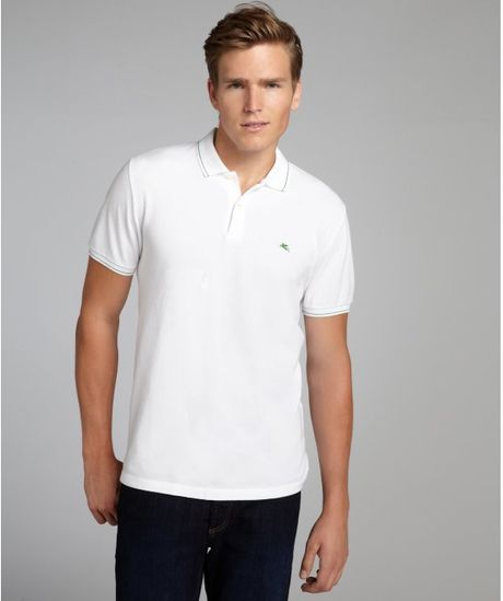 Etro white cotton pique contrast collar and cuff polo for Mens dress shirts with contrasting collars and cuffs