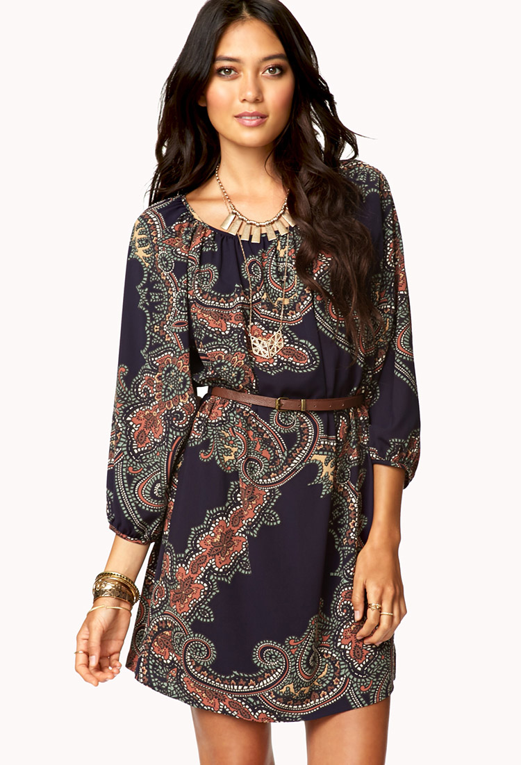 b5ee2efb8520 Lyst Forever 21 La Vie Bohemian Dress W Belt In Brown. Lyst Forever 21  Abstract Ikat Maxi Dress In Black. Bohemian Dresses ...