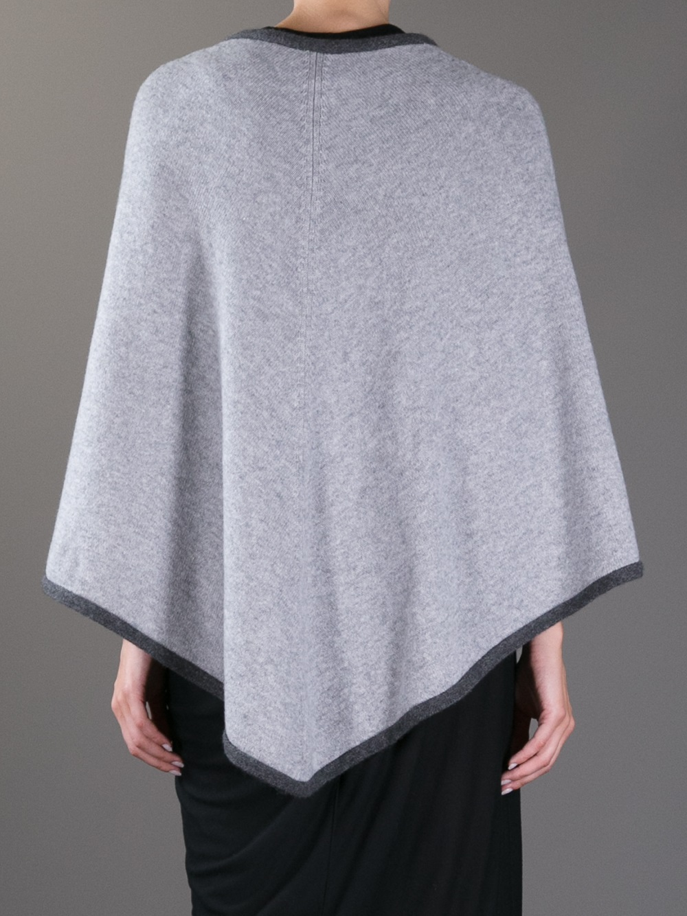 lyst ftc cashmere poncho in gray. Black Bedroom Furniture Sets. Home Design Ideas