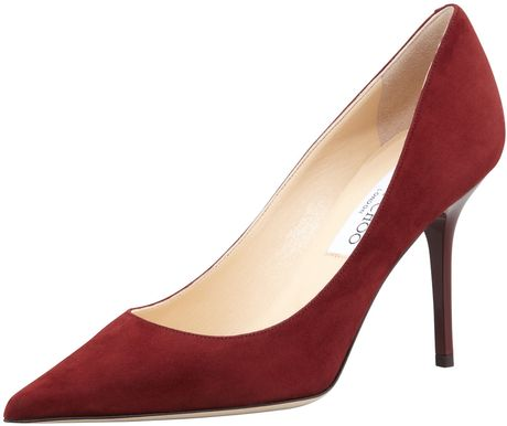 Jimmy Choo Agnes Suede Pointedtoe Pump Claret in Red (CLARET) - Lyst