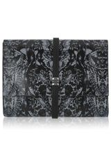 McQ by Alexander McQueen Oversized Printed Textured leather Clutch - Lyst