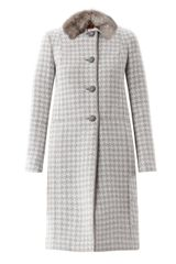 Missoni Dogtooth Fur Collar Coat - Lyst
