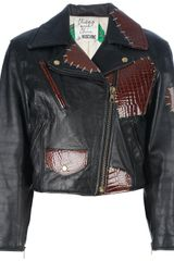Moschino Vintage Distressed Patchwork Biker Jacket - Lyst