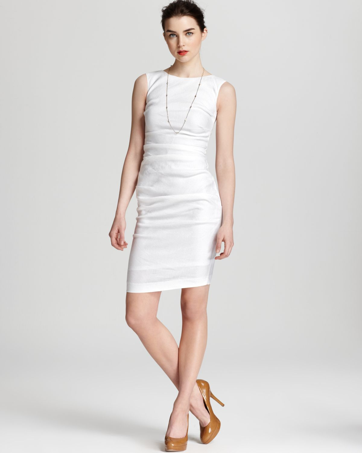 Nicole miller Tank Dress - Classic Stretch Linen in White  Lyst