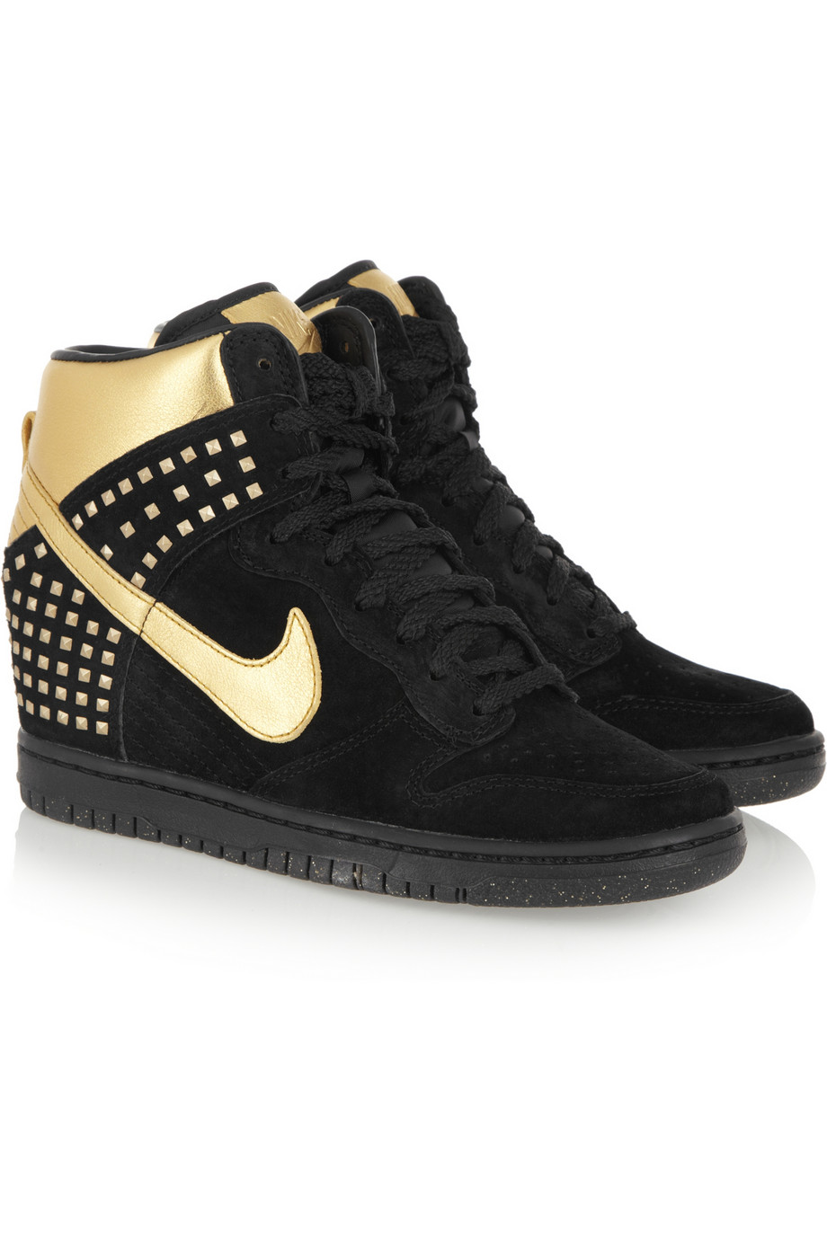 the gallery for gt black and gold wedge sneakers
