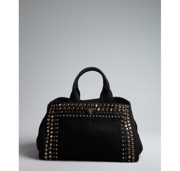 Prada Black Canvas Jeweled Trim Top Handle Bag in Black | Lyst