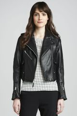 Theory Adashi Leather Motorcycle Jacket - Lyst