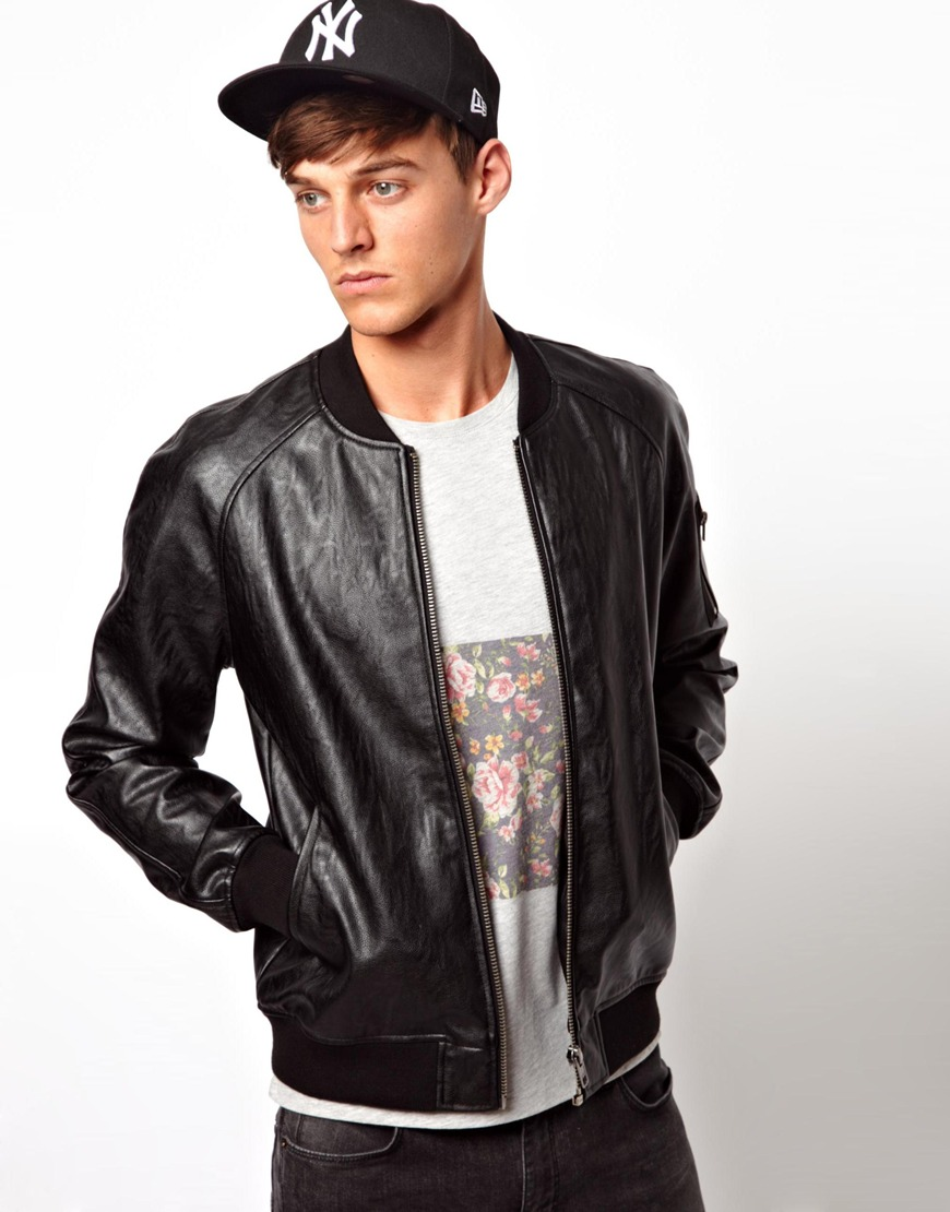 Images of Mens Black Leather Bomber Jacket - Reikian