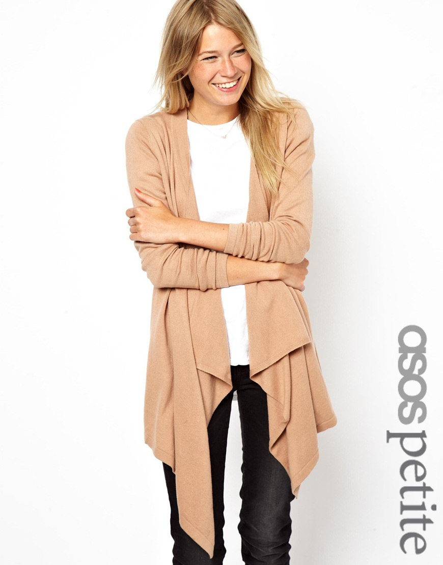 Asos Asos Petite Waterfall Cardigan in Natural | Lyst