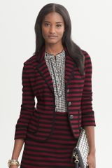 Banana Republic Striped Ponte Knit Blazer Dark Claret - Lyst