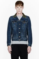 Diesel Blue Leather-collared Elshar Denim Jacket - Lyst