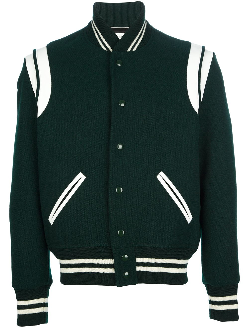 French fashion house Saint Laurent gives a Parisian twist to the classic varsity jacket with this Italian-made piece carefully crafted from a grey wool-blend cloth with black leather trim. The.