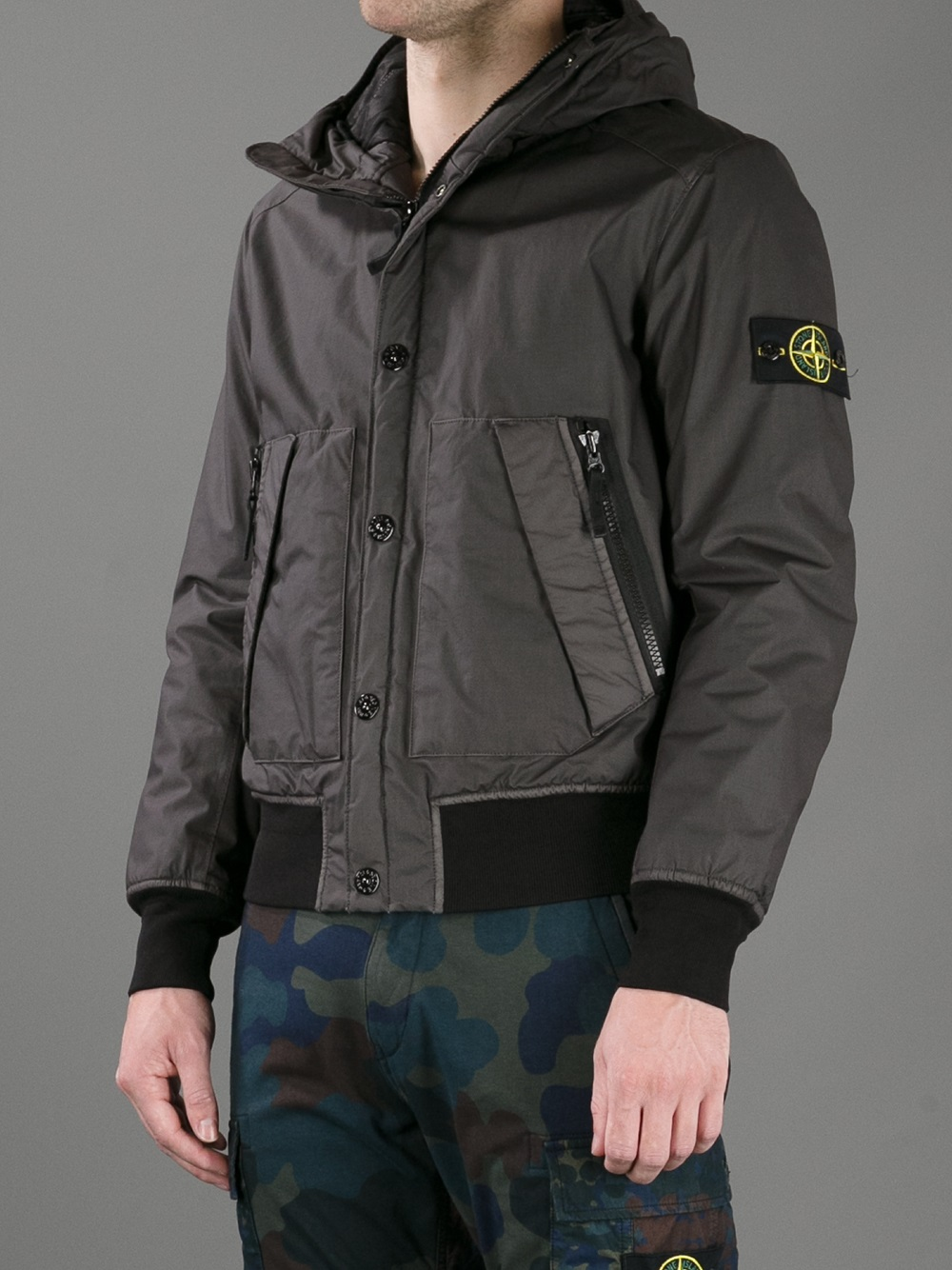Stone Island Mussola Gommata Jacket In Gray For Men Lyst