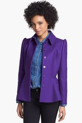 Ted Baker Short Wool Blend Peplum Coat - Lyst