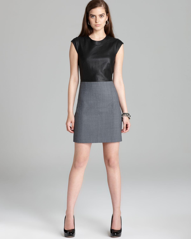 48b92effe08 Theory Dress Orinthia C Wallner Leather Top in Black - Lyst