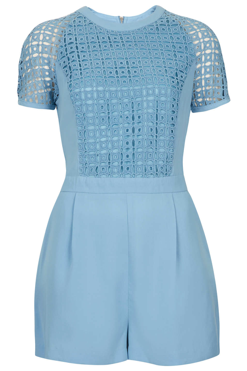 ccf440b48e TOPSHOP Cutwork T-Shirt Playsuit in Blue - Lyst