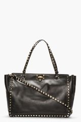 Valentino Black Leather Medium Rockstud Tote - Lyst