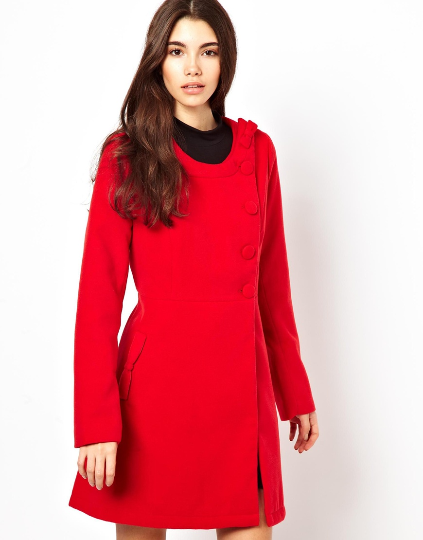 Dolce & gabbana Yumi Collarless Coat in Red | Lyst