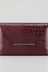 BCBGMAXAZRIA Crocodile embossed Envelope Clutch Burgundy - Lyst