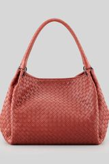 Bottega Veneta Doublestrap Woven Leather Hobo Bag Medium Red - Lyst
