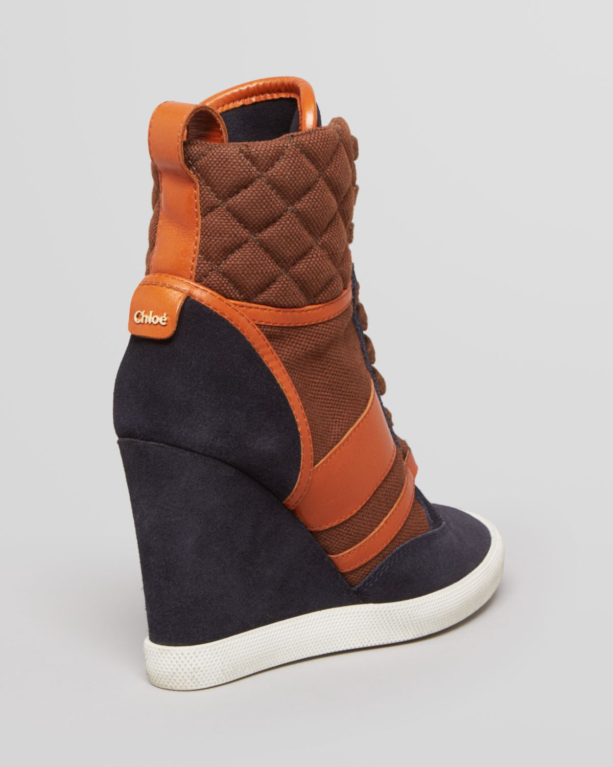 chlo lace up wedge sneakers kasia in orange lyst. Black Bedroom Furniture Sets. Home Design Ideas