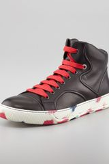 Lanvin High-top Camouflage Sneaker Black-red - Lyst