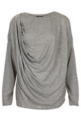 Topshop Long Sleeve Drape Top - Lyst