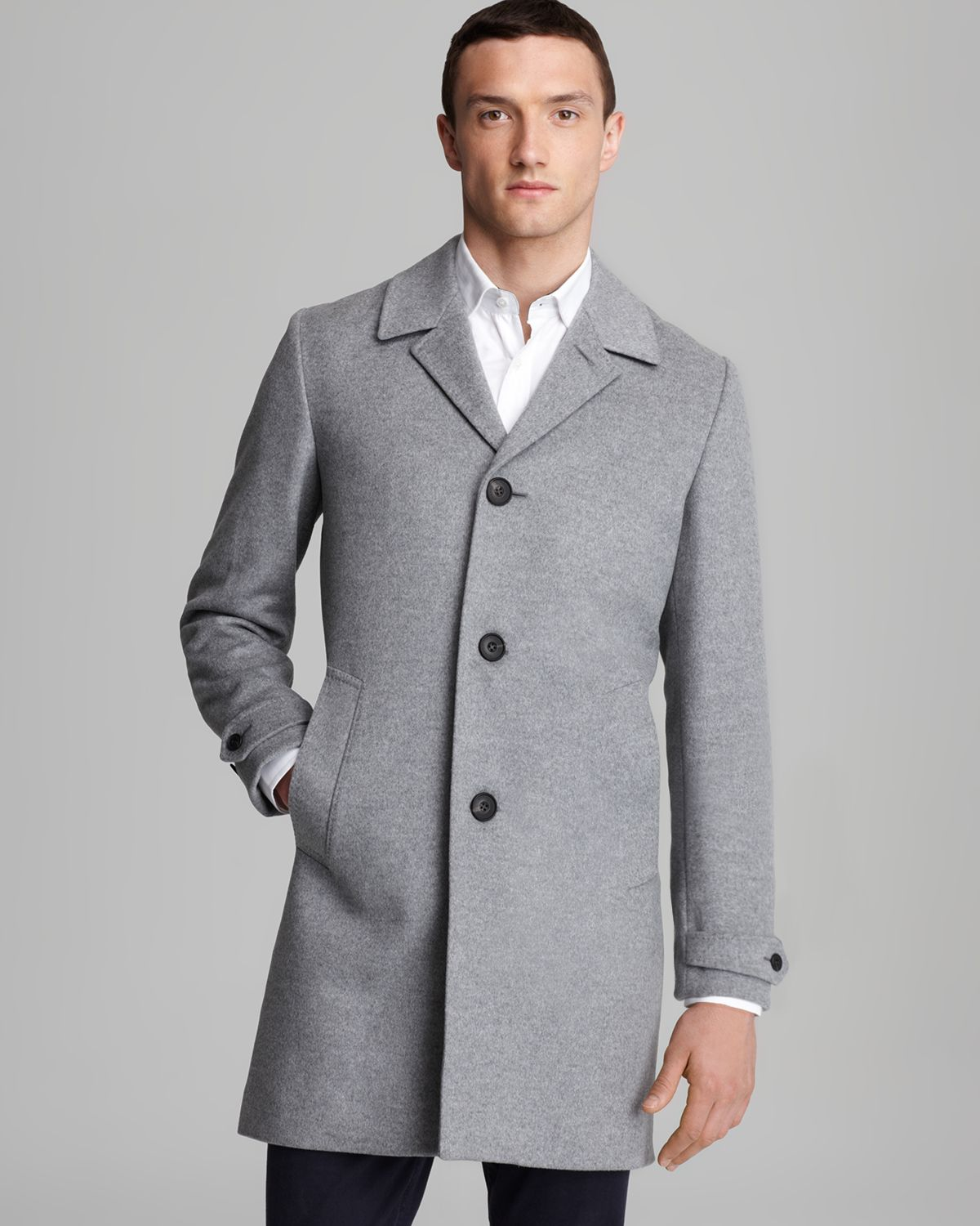 Burberry London Carlson Wool Cashmere Beatles Coat in Gray for Men ...