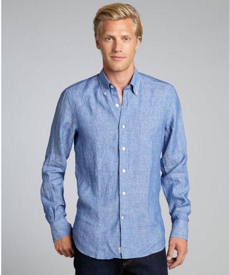 Canali Navy Linen Button Down Collar Shirt In Blue For Men